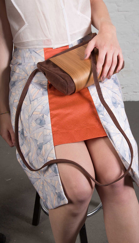 Wooden Shoulder Bag in Brown