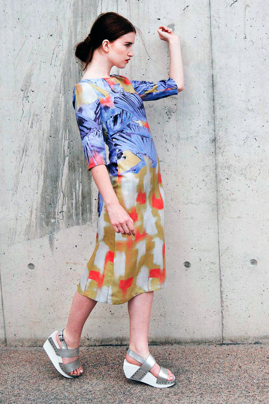Shift dress Yellow Blue Bird Print