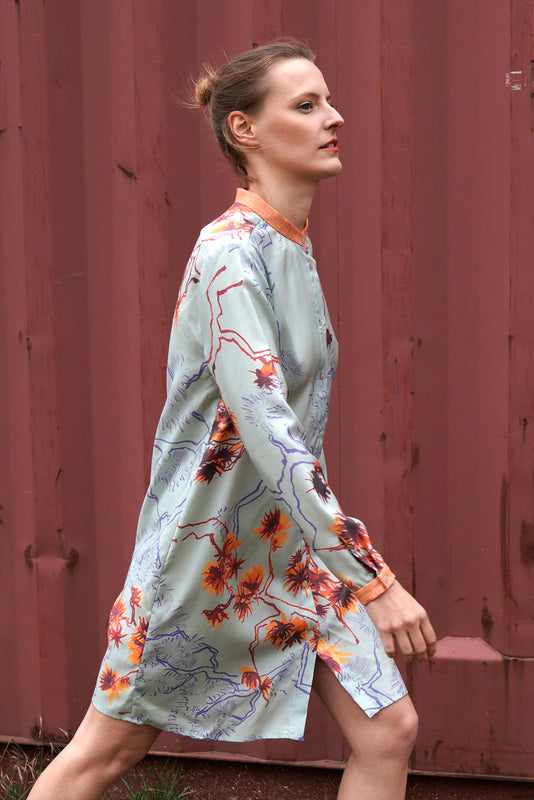 Floral Shirt Dress in Mint Orange