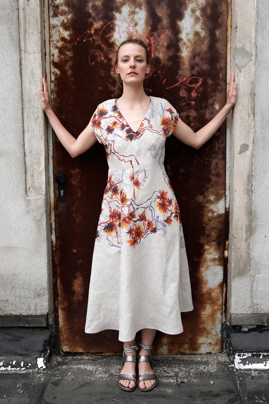 Elegant Floral Linen Dress with Flared Skirt