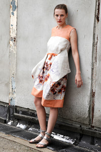 romantic summer dress with orange floral print