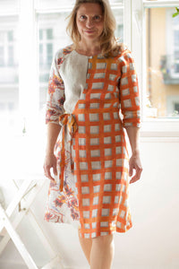 Linen Wrap Dress Orange
