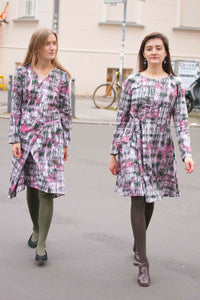 Streetstyle Berlin with pink printed dresses