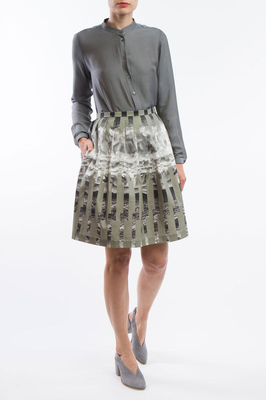 Pleated Skirt  Green Grey Ice  Print