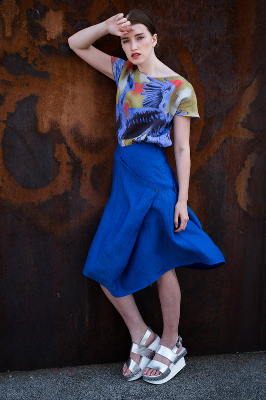 Skirt Modifiable  Linen Royal Blue