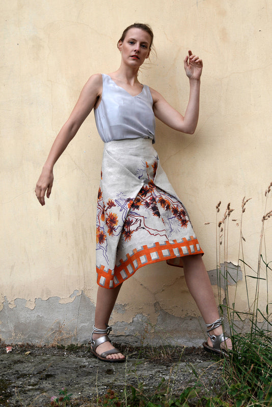 Linen Skirt Blossoms Orange