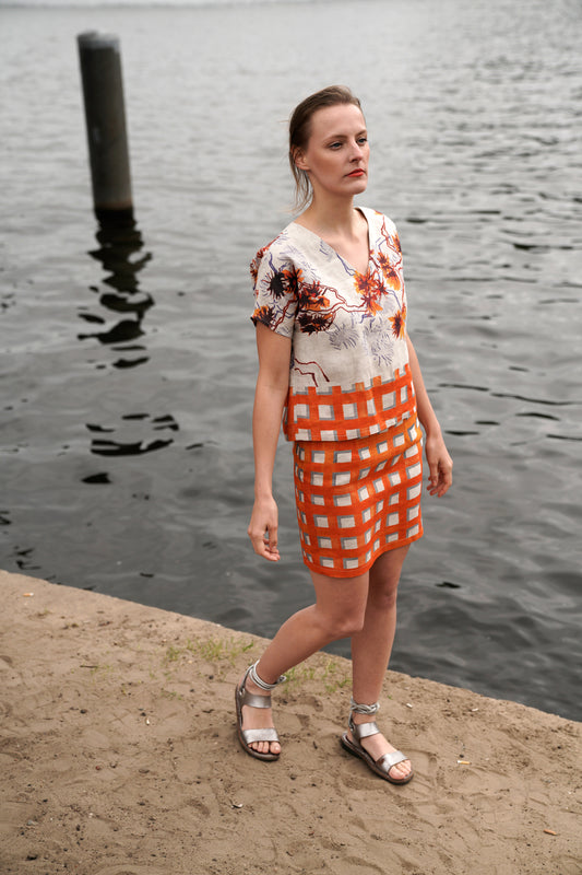 Orange Checked pencil skirt linen