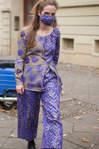 wide leg pants with purple herringbone print