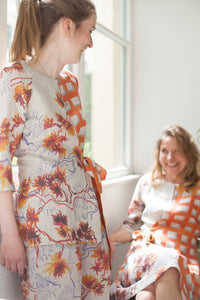 Summer Blouse with orange blossoms