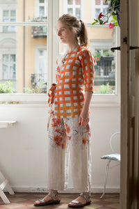 orange check linen  blouse