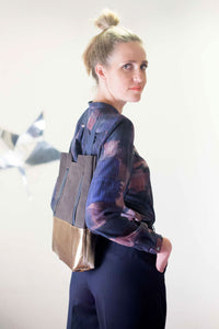 Leather Backpack and Shopper in Brown Gold made my Clara Kaesdorf