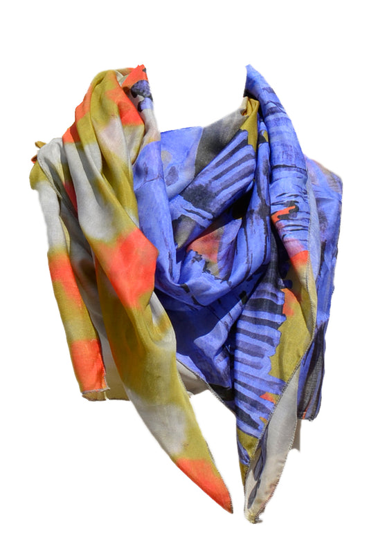 Scarf Blue Bird Print
