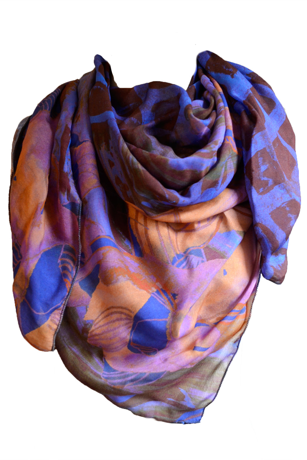 Floral Silk Scarf Orange Blue