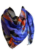 Laden Sie das Bild in den Galerie-Viewer, Printed Scarf Stripes and Creatures in Blue and Red
