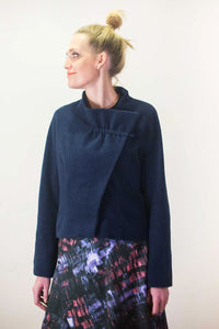 Blue Wool Jacket fully lined with gathered Collar by Clara Kaesdorf Berlin
