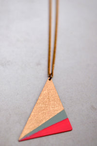 Pink Mint Triangle Necklace