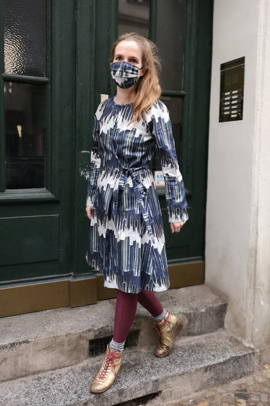 Wrap Dress Printed Organic Cotton with matching mask Clara Kaesdorf