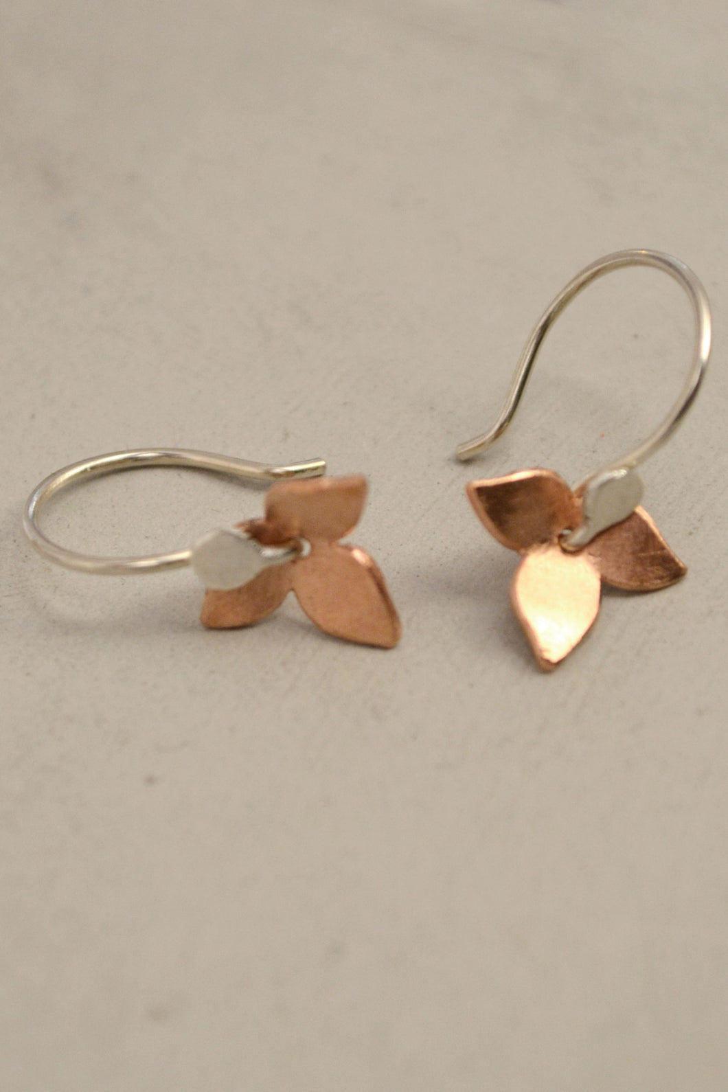 Floral Earrings Copper and Silver by Carolina Lutz S