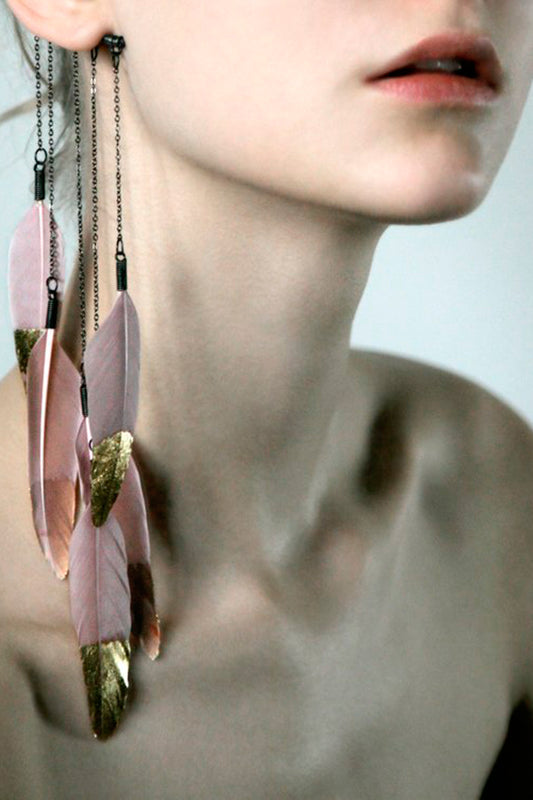 Pink Gold Feather Ear Cuff