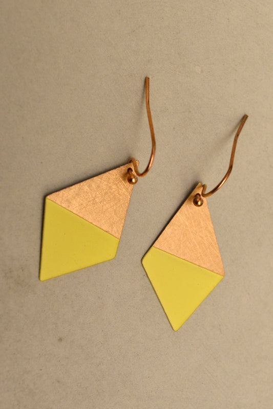 Yellow Trapezoid Earrings