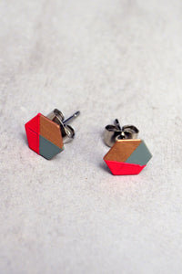 Pink Mint Hexagon Studs