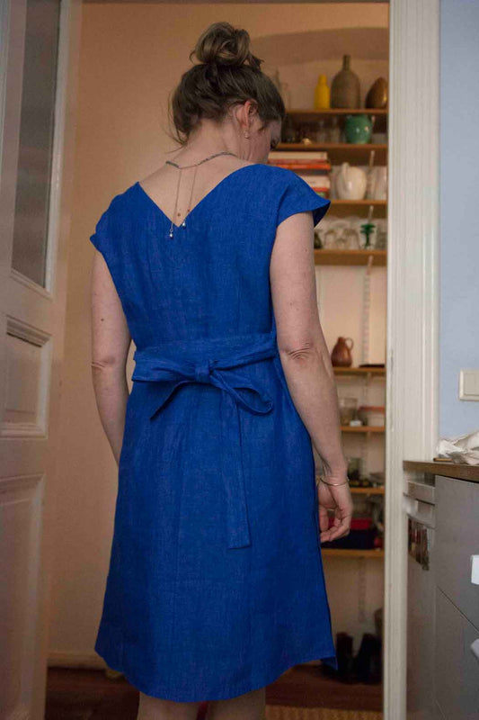 Blue Linen Dress Draping