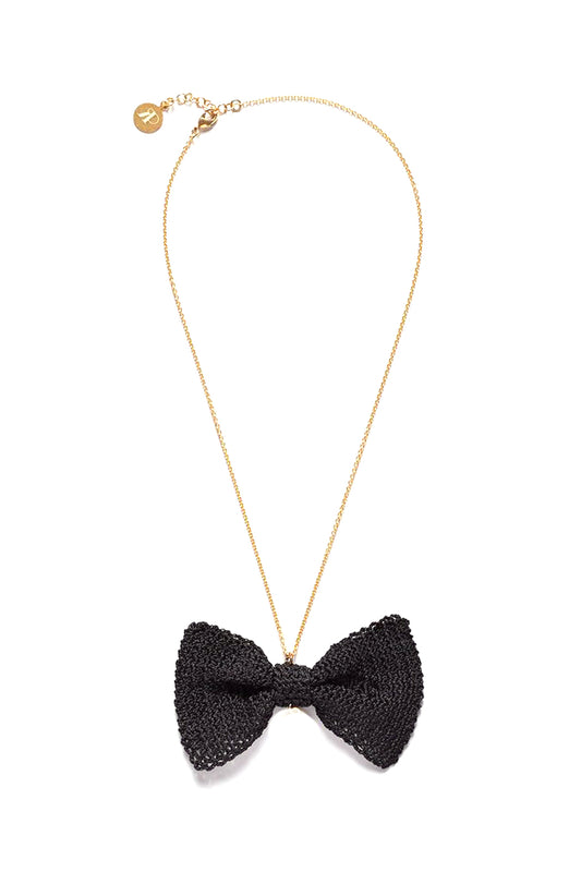 Black Bow Necklace