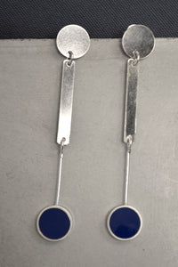 Dark Blue Dot Silver Earring