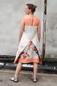 Linen summer dress with orange print