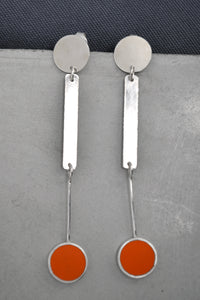 Orange Dot Silver Earring