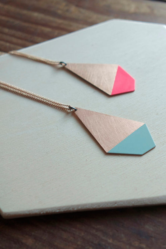 Pink and Mint Polygon Necklace