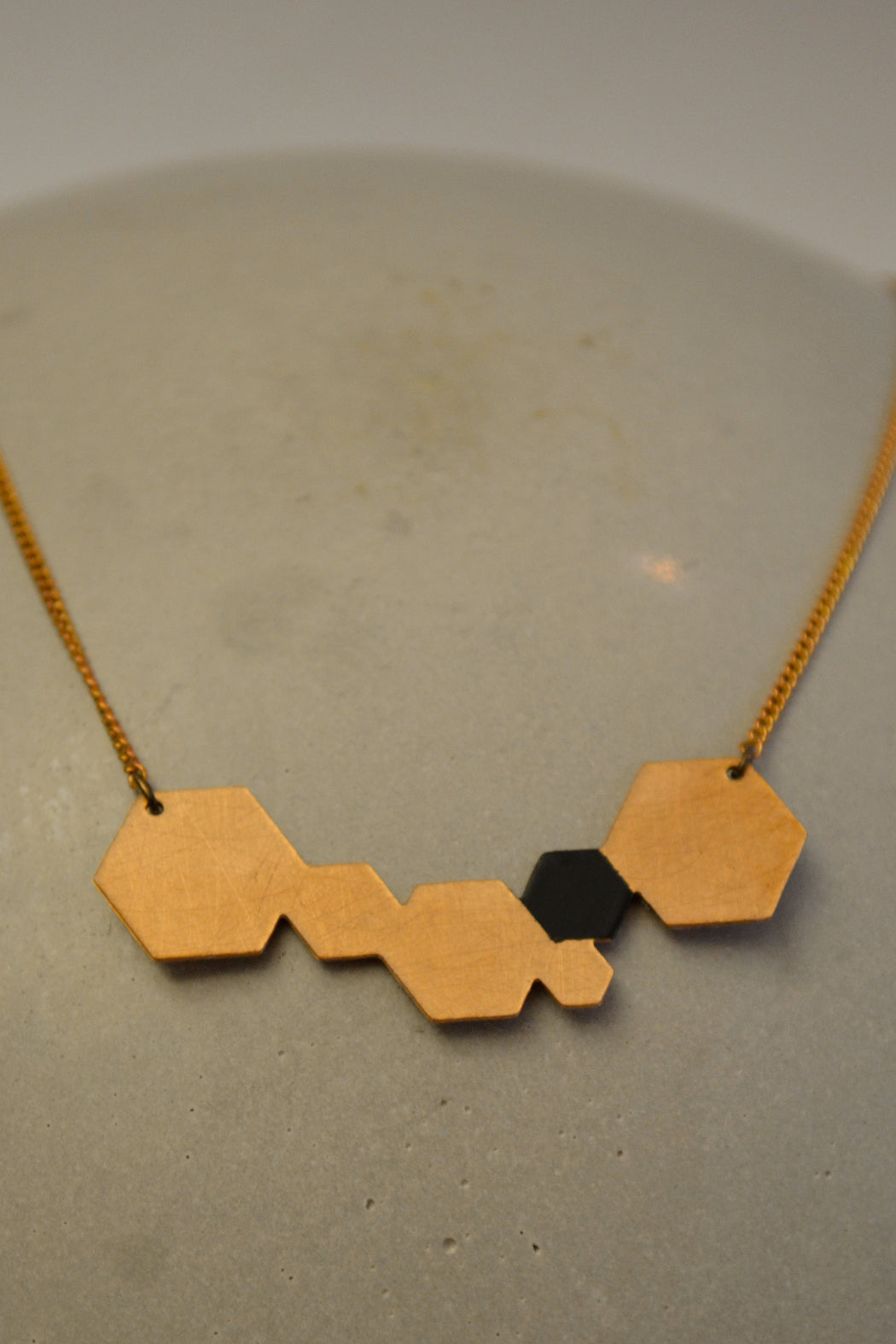 Black Hexagon Necklace