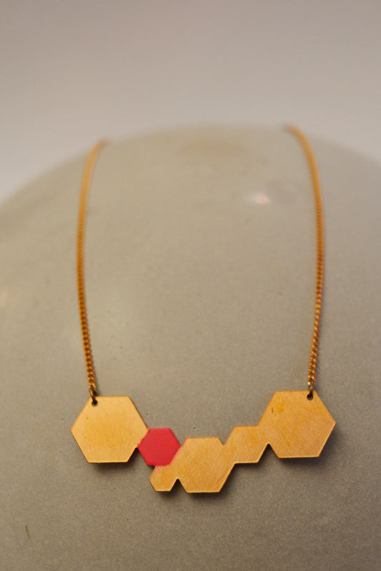 Pink Hexagon Necklace