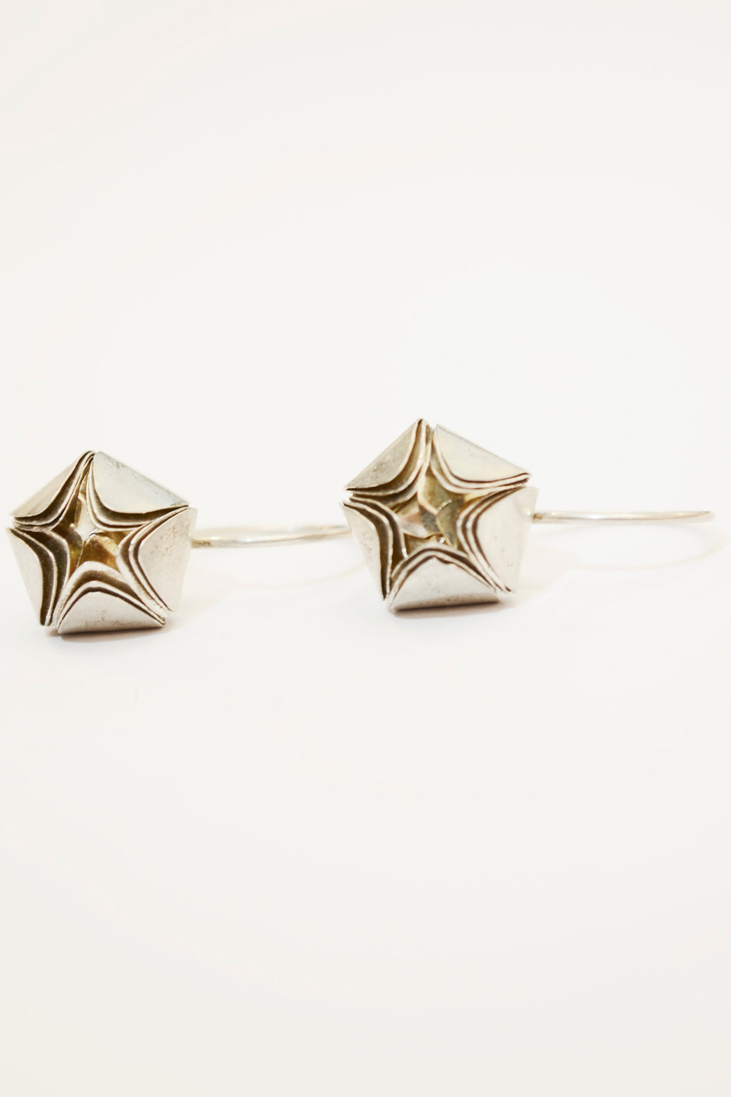 Silver Flower Earring Geometric