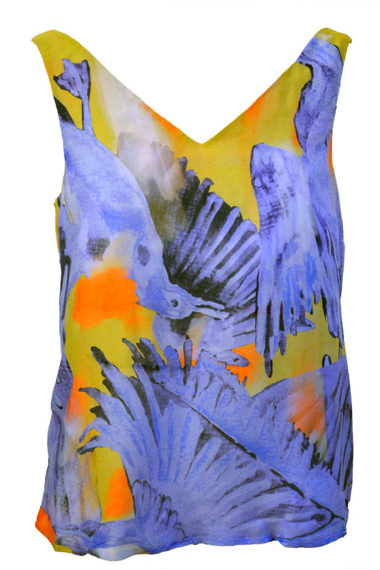V-neck Top Blue Birds