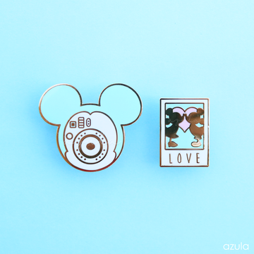 TEAL POLAROID CAMERA ✦ ENAMEL PIN SET