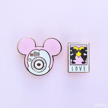 PINK POLAROID CAMERA ✦ ENAMEL PIN SET