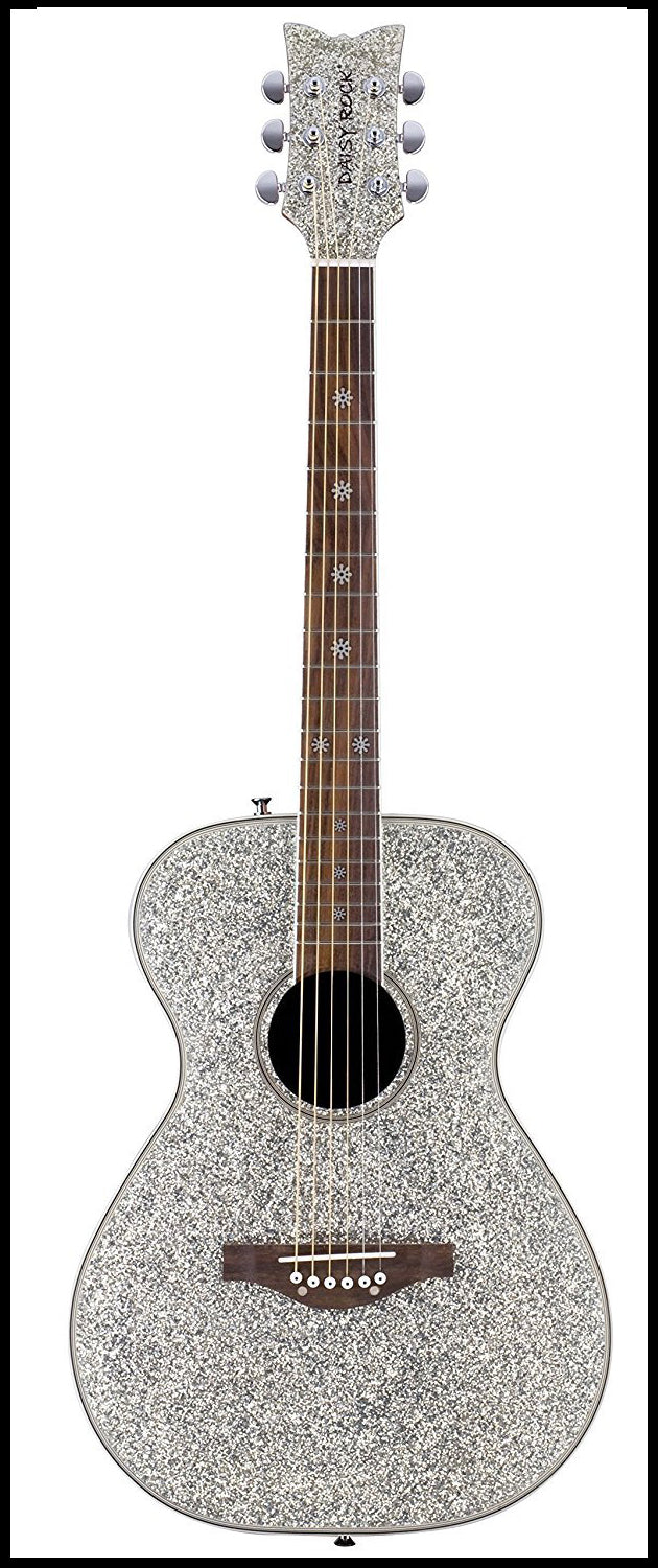Daisy Rock 6 String Acoustic Guitar, Silver Sparkle