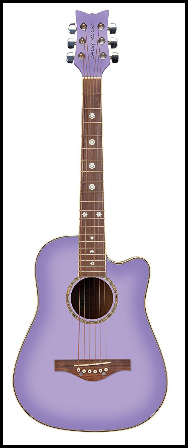 Daisy Rock 6 String Acoustic Guitar, Purple Daze
