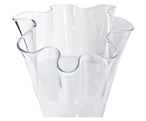 CLEAR CORRUGATED VASE GLASS