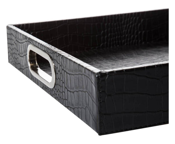 BLACK CROCO RECTANGULAR TRAY WITH STAINLESS STEEL HANDLES