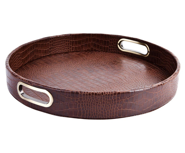 LIGHT BROWN ROUND CROCO TRAY WITH BRASS HANDLES
