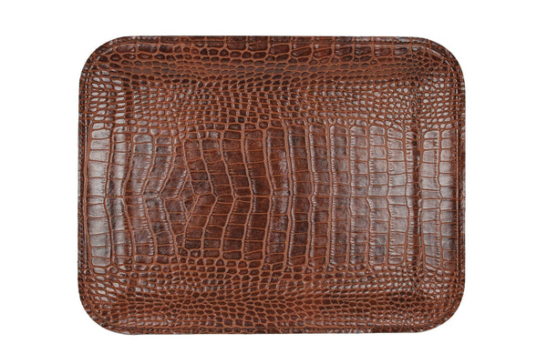 LARGE  LIGHT BROWN CROCO FLAT TRAY