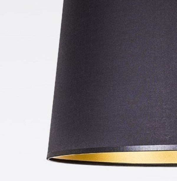 BLACK FABRIC LAMPSHADE / GOLD INSIDE 40/33/25 CM