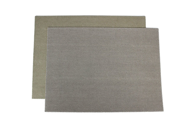 6-SET ARTIFICIAL LEATHER SMOKE SKIN GRAY - GREEN BOTH SIDED TISCHSET
