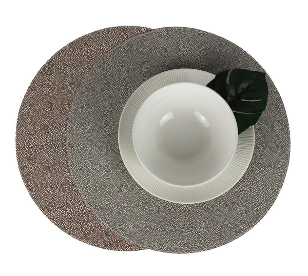 GRAY - BROWN SET OF 6 ROUND SKIN  BOTH SIDES PLACEMATS
