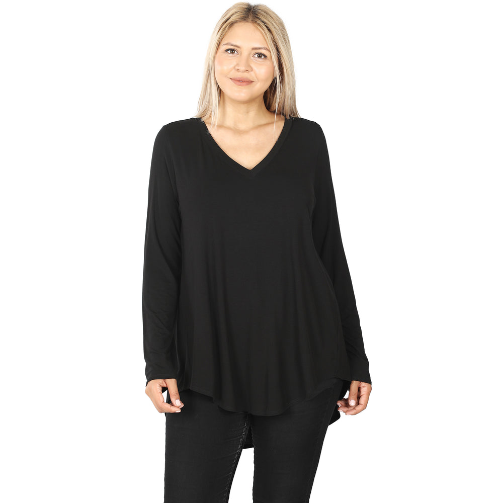 B+B Luxe Long Sleeve V-Neck {Black}
