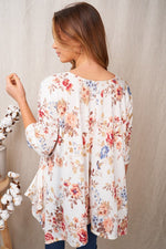 Three Quarter Sleeve Floral Print Knit Top