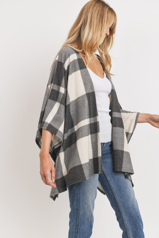 Crisp Nights Plaid Poncho Cardigan