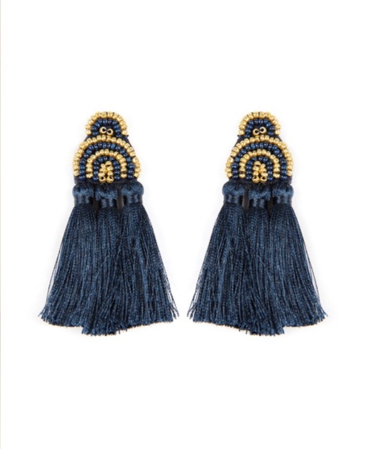 Beaded Bliss Earrings Navy